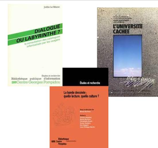 Trois couvertures d'ouvrages publiés aux éditions de la bibliothèque du Centre Pomidou