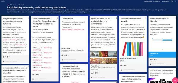 Capture d'écran du tableau virtuel créé par l'ABF en ligne