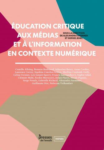 Couverture du livre éducation critique aux médias et à l'information en contexte numérique édité aux éditions de l'ENSSIB
