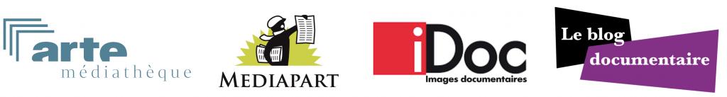 bandeau reprenant les logos des quatre partenaires du prix du public Les yeux doc