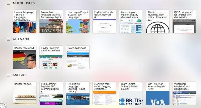 Vue du pearltrees présentant des méthodes de langues gratuites sur le web