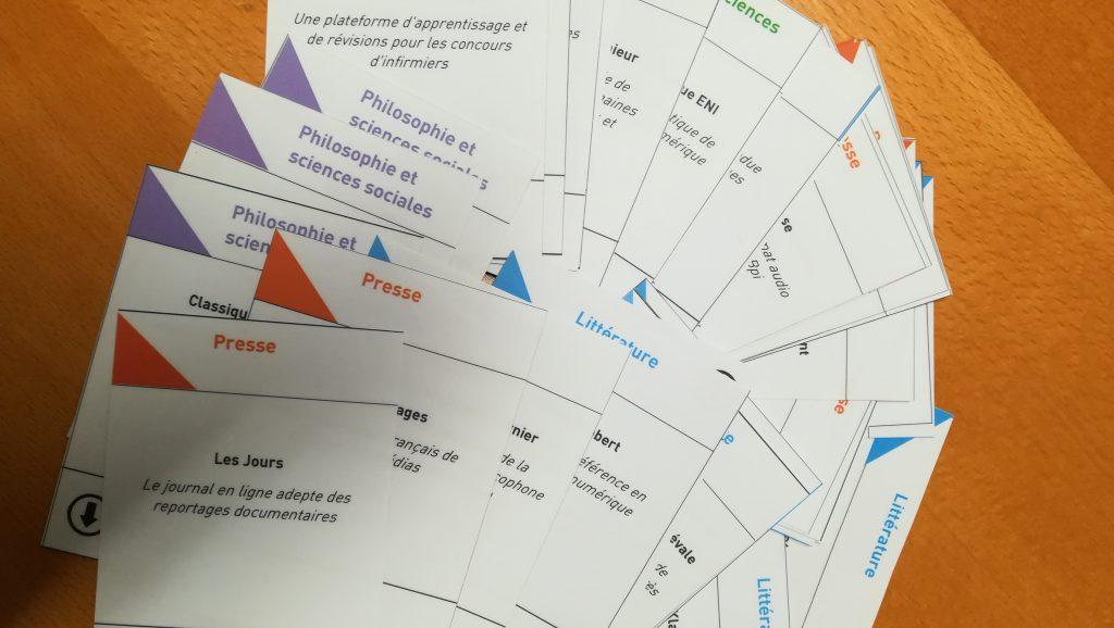 jeu de cartes utilisé pour se former sur les ressources numériques à la Bpi