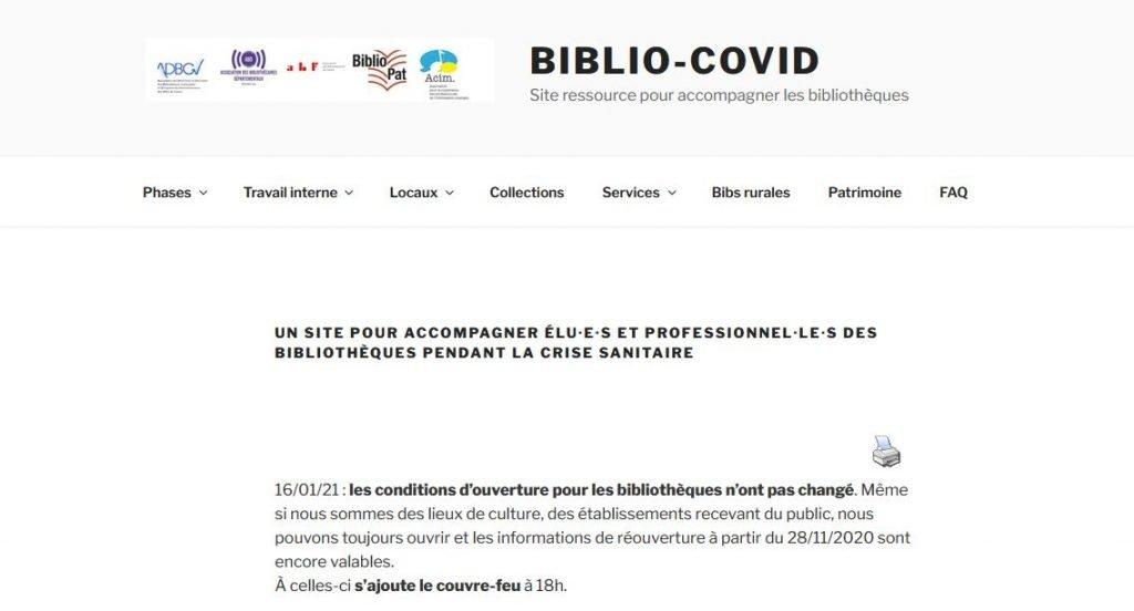 Page d'accueil du site Biblio-Covid