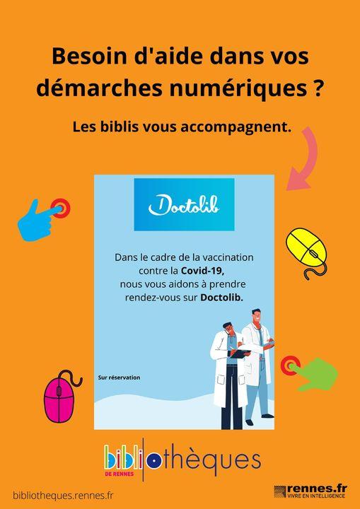Affiche de la Bibliothèque Villejean de Rennes sur les ateliers d'aide à la réservation de créneau de vaccination sur Doctolib