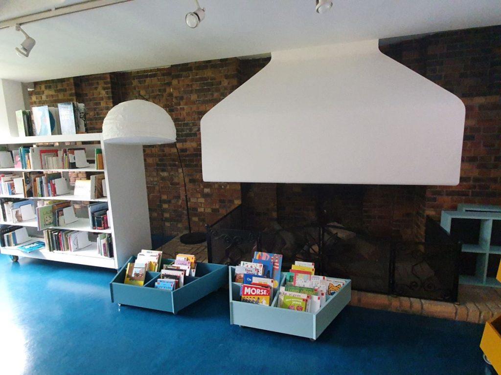 Photographie de la cheminée entourée de bacs à livres