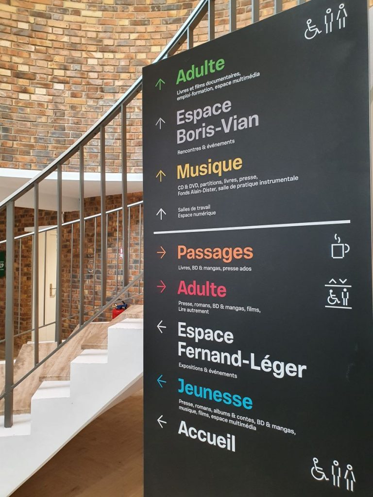Photographie du panneau de signalisation des différents espaces de la bibliothèque