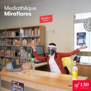 Accueil de la bibliothèque Miraflores  avec les mesures sanitaires
