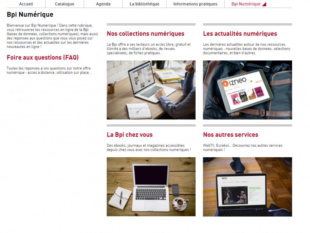 Capture d'écran de la rubrique Bpi numérique avec une vue d'ensemble de l'ensemble des pages : collections numériques, actualités numériques, Bpi chez vous, autres services, foire aux questions.