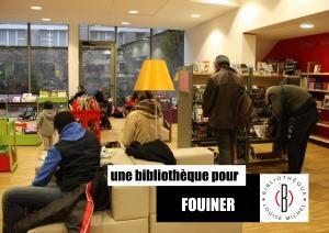 """Affiche """"Une bibliothèque pour fouiner"""""""