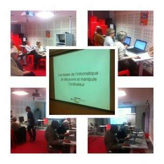 superposition de photos avec quatre photos des ateliers numériques de la Bpi se partageant le fond de l'image et une image centrale avec un écran sur lquel est projeté un intitulé de cours.
