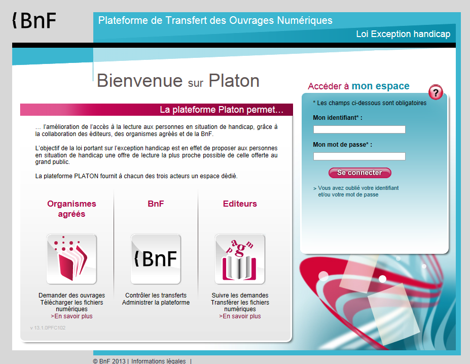 Copie d'écran de la page d'accueil de la plateforme Platon