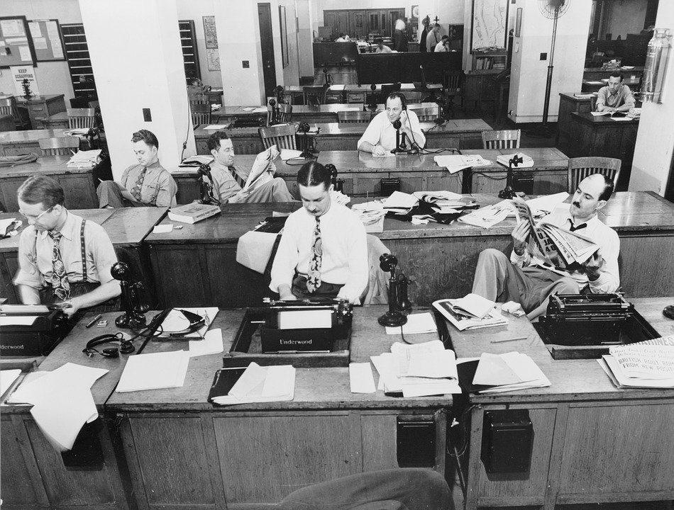 salle de rédaction années 50