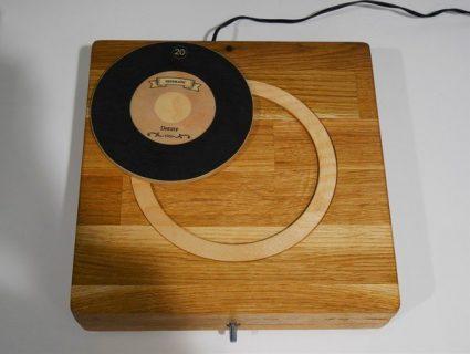 Photographie d'un mangedisque en bois