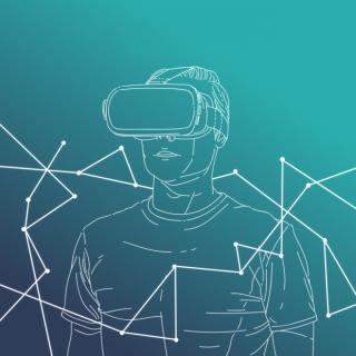Dessin minimaliste en traits blanc sur fond bleu d'un homme portant un casque de réalité virtuelle
