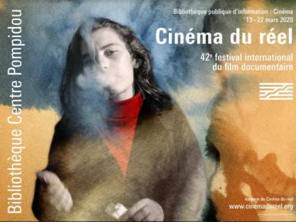 Affiche du Festival Cinéma du Réel 2020 : photographie peinte d'une femme rejetant la fumée d'une cigarette