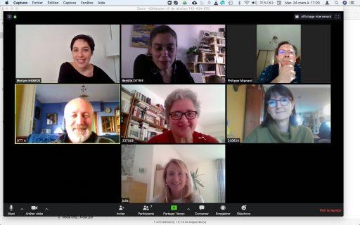 Copie d'écran de la réunion du CODIR des médiathèques de Strasbourg, avec les visages de chacun