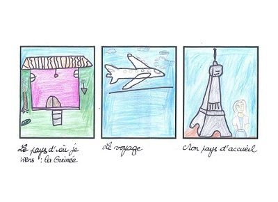Trois cases couleurs dessinées par un élève sur son arrivée à Paris
