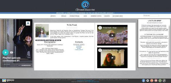 Capture d'écran de la page d'accueil de Gironde Music Box