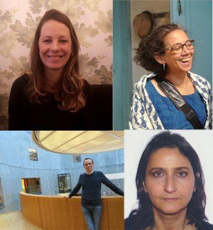 Portraits de trois femmes et d'un homme, membres du jury des bibliothèques