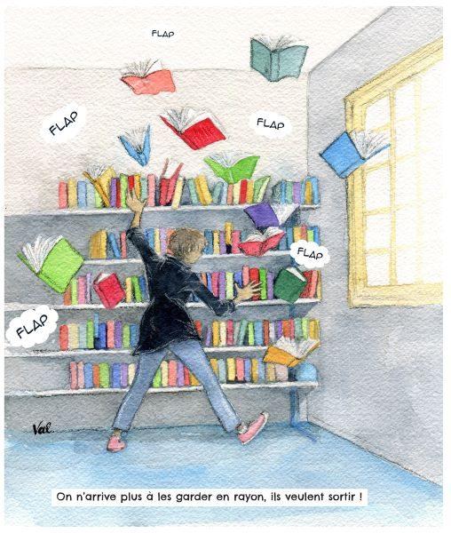 aquarelle représentant des livres qui s'échappent d'une étagère et qu'une femme tente de rattraper