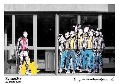 Fresque en couleurs représentant un groupe de jeunes avec des masques c'animaux face à un autre jeune