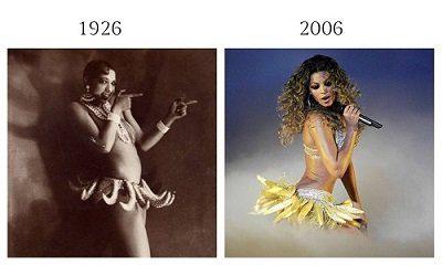 Photographies de Joséphine Baker en noir et blanc et de Beyoncé en couleurs, toutes deux chantant