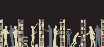 Dessin figurant des silhouettes rangeant des livres dans des étagères