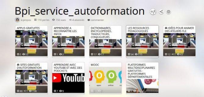 Page d'accueil du pearltrees du service autoformation de la Bpi