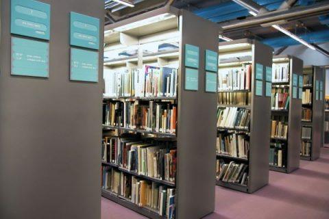 Photographie de rayonnages de la Bpi avec leurs ouvrages