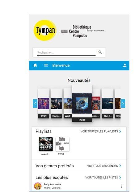 Capture de l'écran d'accueil de Tympan sur smartphone